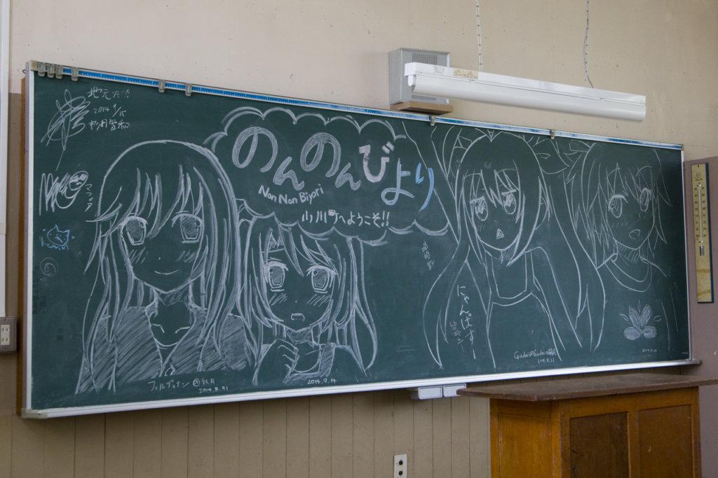 教室の黒板に描かれた「のんのんびより」のイラストと有名人のサイン