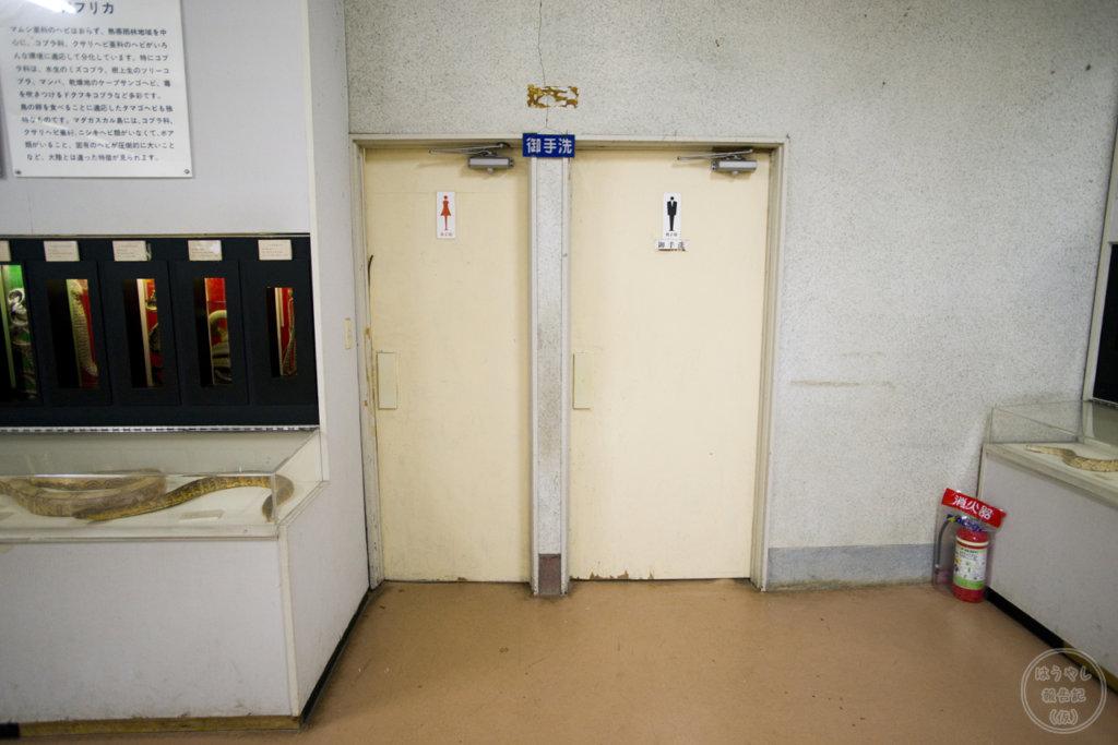 ヘビ資料館のレトロなお手洗い