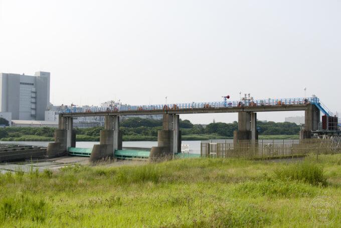 寒川町川とふれあい公園から見た「寒川取水堰」