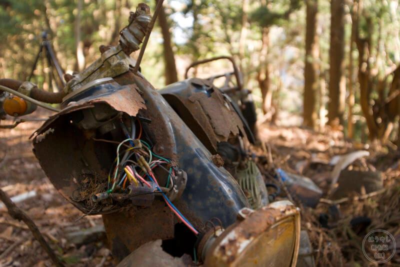 山掴集落に残る廃バイク