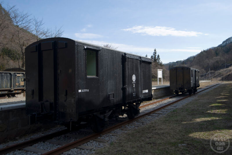 太子駅で展示されている大井川鉄道のCワフ0形貨車