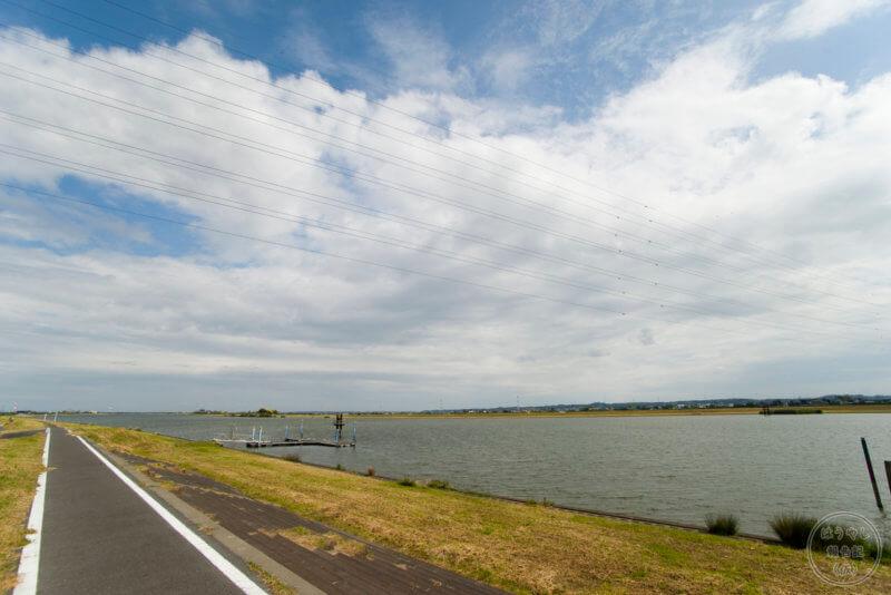 霞ヶ浦河川事務所の前を流れる利根川・常陸利根川