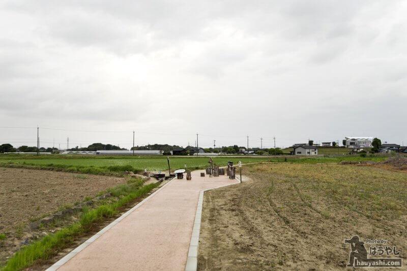 田畑の真ん中に現れる真新しい遊歩道
