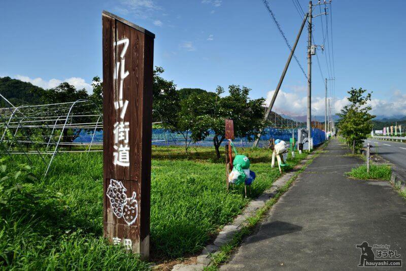 吉田フルーツ街道に並ぶ個性豊かな案山子