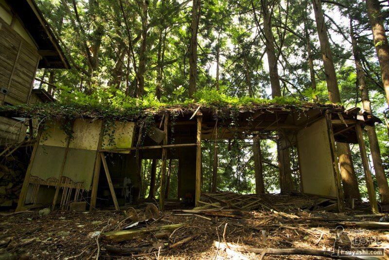 壁や屋根が崩れかけている廃屋