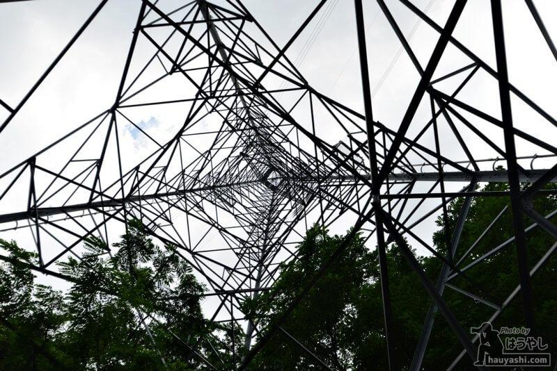 高圧鉄塔を真下から見上げる