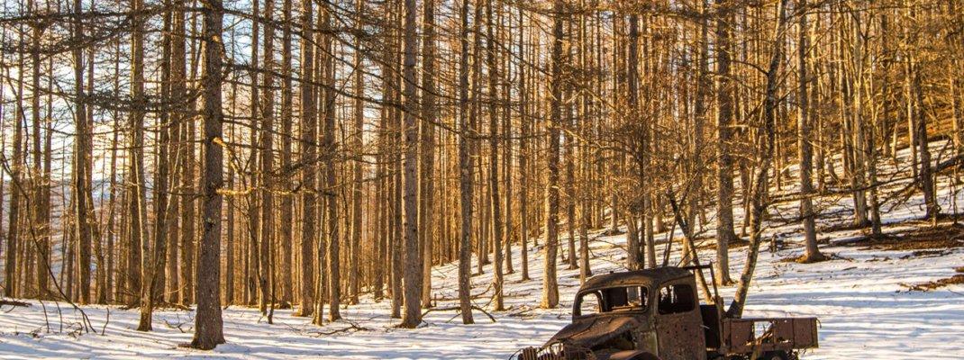雪積もる冬の白沢峠に眠る「廃ダッチ(廃トラック、廃ボンネットトラック)」(山梨県甲州市)