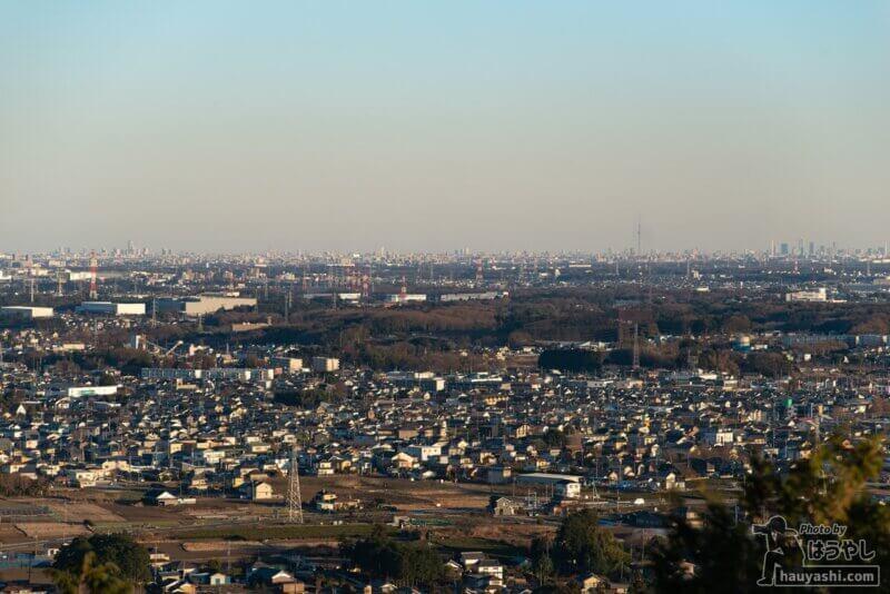 白銀平展望台から見える「東京方面」の景色